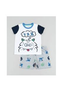 Pijama Infantil Monstrinho Manga Curta Branco