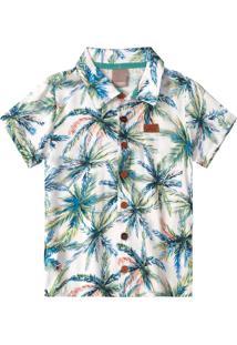 Camisa Azul Folhagens Menino