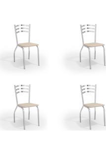 Conjunto Com 4 Cadeiras De Cozinha Portugal Cromado E Nude