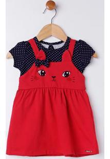 Vestido Infantil Para Bebê Menina - Vermelho/Azul Marinho
