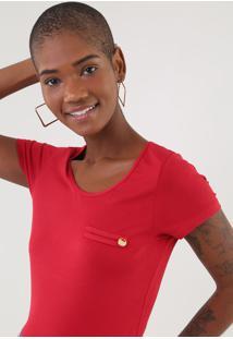 Camiseta Rovitex Recorte Vermelha - Vermelho - Feminino - Viscose - Dafiti