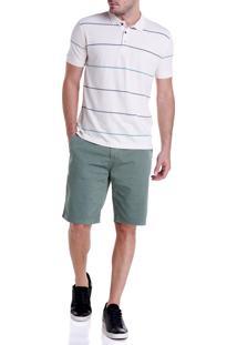 Bermuda Dudalina Sarja Stretch Essentials Masculina (O19/ I19 Verde Medio, 40)