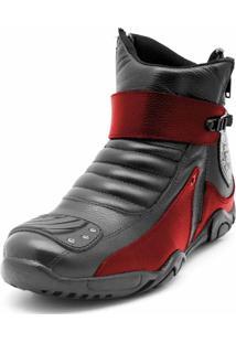 Bota Motoqueiro Cano Curto Em Couro Atron Shoes Preta/Vermelho