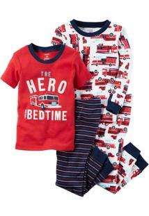 Kit Infantil 4 Peças Carter'S Pijama The Hero Of Bedtime Masculino - Masculino-Branco+Vermelho