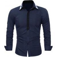 aa98931e5b Camisa Social Masculina Slim Fit Manga Longa - Azul Marinho