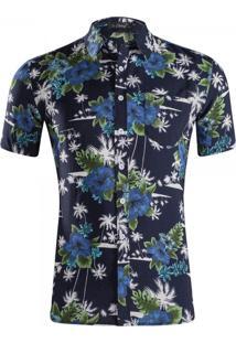 Camisa Estampada Masculina - Floral Azul Escuro P