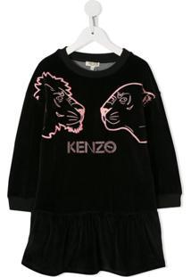 Kenzo Kids Vestido Crazy Jungle - Preto