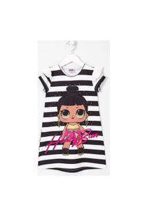 Vestido Infantil Texturizado Estampa Lol Listrada - Tam 4 A 14 Anos | Lol Surprise | Branco | 5-6
