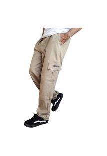 Calça Cargo Masculina 6 Bolsos Skate Militar Bege