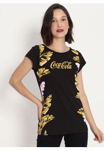 Camiseta Folhagens Com Inscrição- Preta & Amarela- Ccoca-Cola