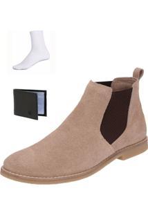 Bota Chelsea Boots Confortável Escrete Couro 50266 Areia + Brinde