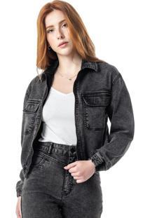 Jaqueta Preta Ampla Jeans Black