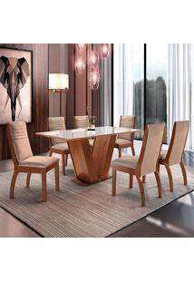Conjunto De Mesa De Jantar Classic Com 6 Cadeiras Excelence L Suede Bege E Chocolate