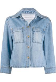 Victoria Victoria Beckham Jaqueta Jeans Mangas Médias - Azul