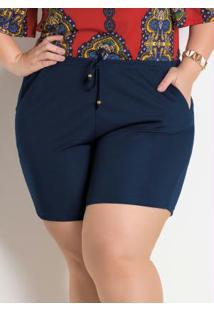 6e12cf4ae5b9 Short Marinho Plus Size Marguerite Com Amarração