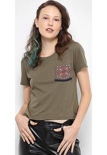 Camiseta Drezzup Bolso Estampado Feminina - Feminino