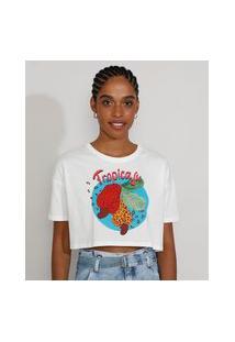 "Camiseta Feminina Cropped Tropicaju"" Animal Print Onça Manga Curta Decote Redondo Off White"""