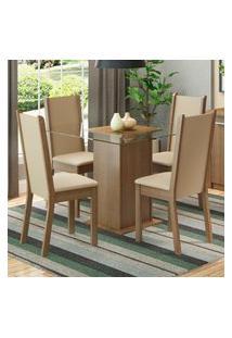 Conjunto Sala De Jantar Madesa Aline Mesa Tampo De Vidro Com 4 Cadeiras Marrom