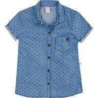 Camisa Jeans Infantil Menina Com Estampa Hering Kids 7f928577c7932