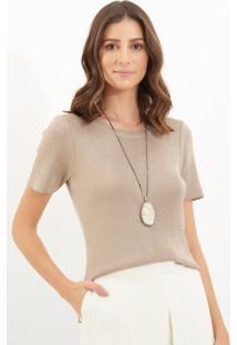 Camiseta Le Lis Blanc Luana Lurex Ii Tricot Cinza Feminina (Platinum, Gg)
