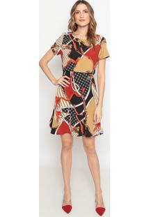 Vestido Com Recortes Vazados - Preto & Vermelhodonna Mila