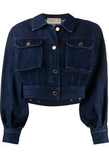 Alberta Ferretti Jaqueta Jeans Com Recortes - Azul