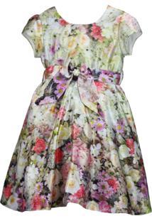 Vestido Pipoca Doce Floral Bege
