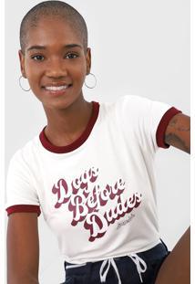 Camiseta Aeropostale Dogs Before Dudes Off-White/Vinho - Off White - Feminino - Viscose - Dafiti