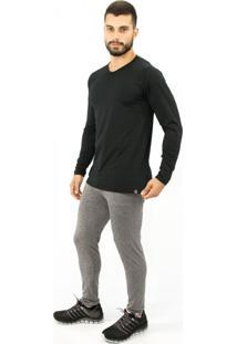 Calça Térmica Question Sport Com Fleece Interno Masculino Cinza Mescla