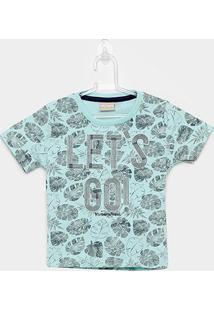 Camiseta Infantil Milon Let'S Go Manga Curta Masculina - Masculino-Verde Claro