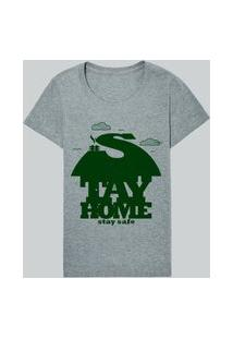 Camiseta Fem Stay Home Stay Safe Casual Reserva Cinza