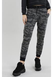 Calça Feminina Jogger Em Moletom Estampada Camuflada Verde Militar 15ab65feba5ca
