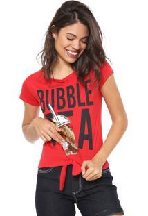 Camiseta Fiveblu Paetês Vermelha