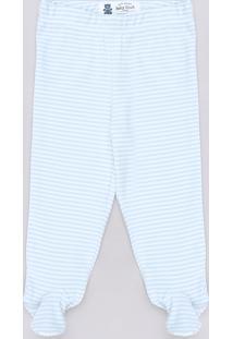 Calça Infantil Básica Listrada Azul Claro