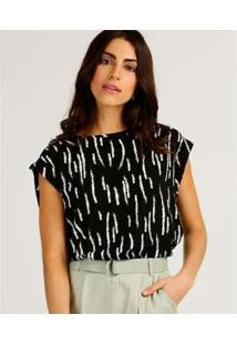 Camiseta Estampada Marisa Manga Curta Feminina - Feminino-Preto