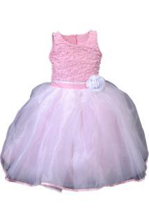 Vestido De Festa Liminha Doce Infantil Rosa Com Laço
