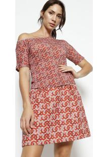 Camiseta Abstrata- Rosa Escuro & Vermelhaenna