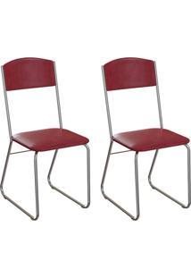 Conjunto Com 2 Cadeiras Byron Vinho E Cromado