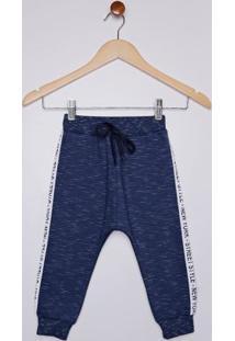 Calça Em Moletom Infantil Para Menino - Azul Marinho