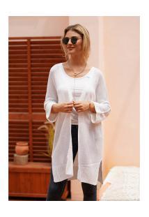 Cardigan De Lã Astana Feminino - Branco