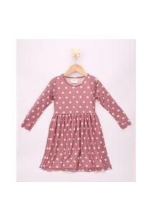 Vestido De Tule Infantil Estampado De Poá Manga Longa Rosa Escuro
