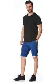 Bermuda Jeans Elástico Ricardo Masculina - Masculino-Azul