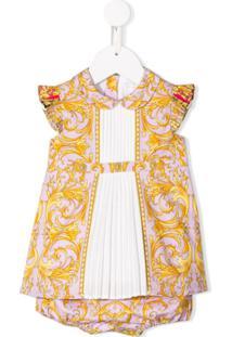 Young Versace Vestido Com Estampa Barroca - Rosa