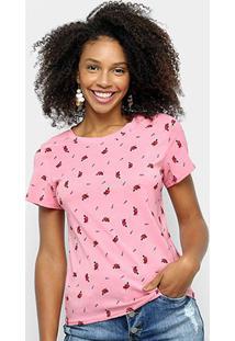 Camiseta Sofia Fashion Básica Coração Feminina - Feminino-Pink