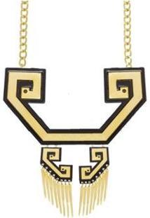 Colar Le Diamond Noveau Acrilico - Feminino-Dourado