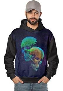 Casaco De Moletom Skull Galaxy Neon Di Nuevo Masculino - Masculino-Preto