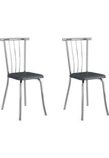 Kit 2 Cadeiras 154 Jeans/Cromado - Carraro Móveis