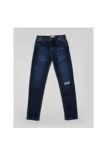 Calça Jeans Juvenil Com Puídos E Bolsos Azul Escuro