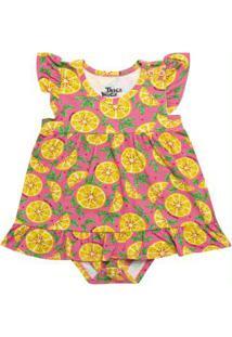 Vestido Body Infantil Estampado Rosa