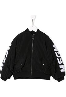 Msgm Kids Logo Print Bomber Jacket - Preto